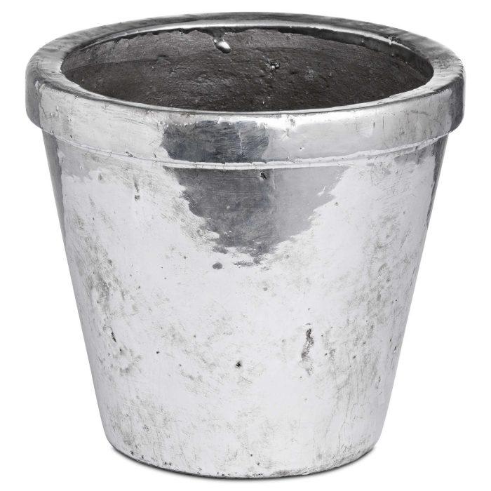 Metallic Ceramic Medium Rimmed Plant Pot - Cosy Home Interiors