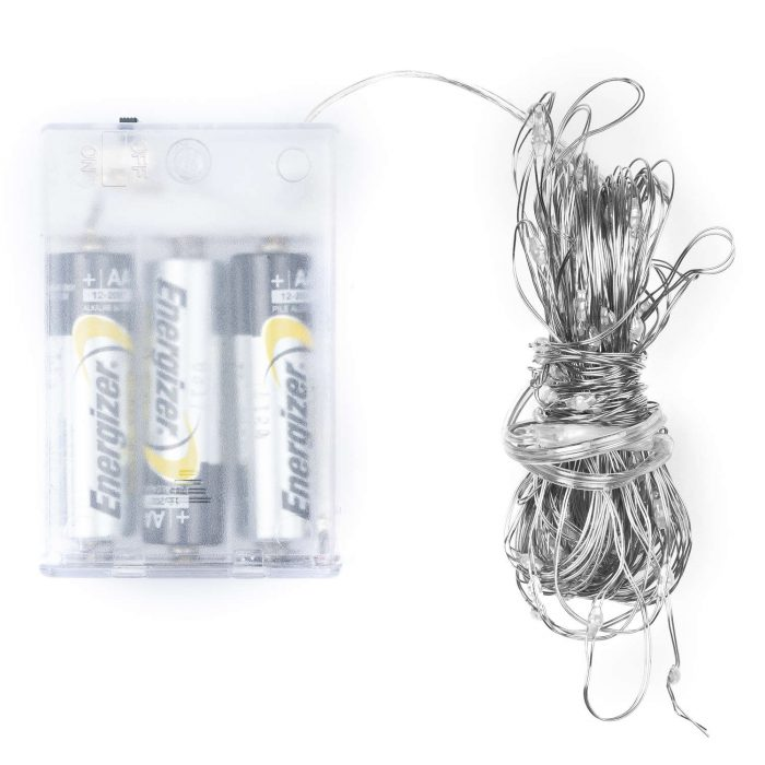 100 LED Battery Micro Lights Silver Wire - Cosy Home Interiors
