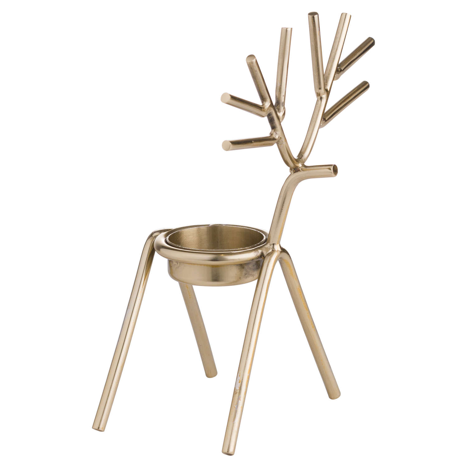 Gold Stick Reindeer Tea Light Holder - Cosy Home Interiors