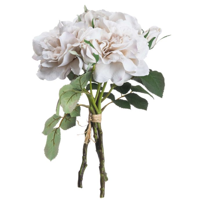 Grey White Short Stem Rose Bouquet - Cosy Home Interiors
