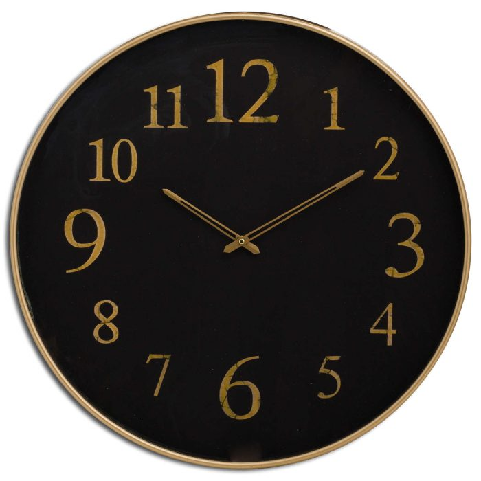 Black And Gold Glass Wall Clock - Cosy Home Interiors