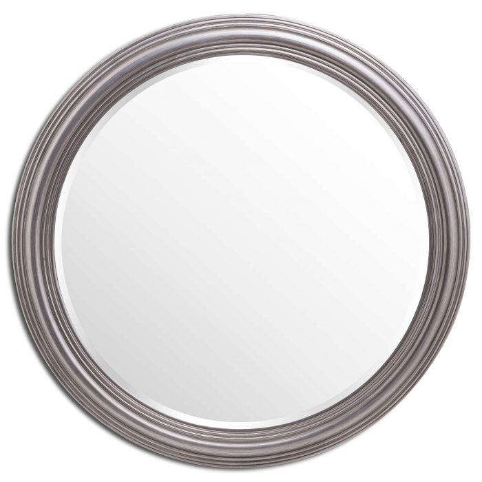 Large Circular Silver Rimmed Wall Mirror - Cosy Home Interiors
