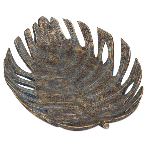 Large Antique Bronze Cheese Plant Leaf Dish - Cosy Home Interiors