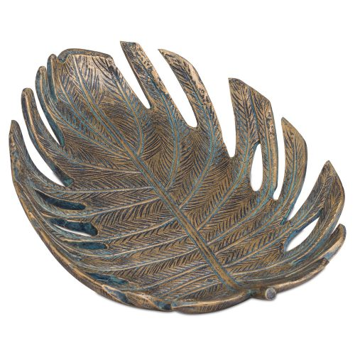 Antique Bronze Cheese Plant Leaf Dish - Cosy Home Interiors
