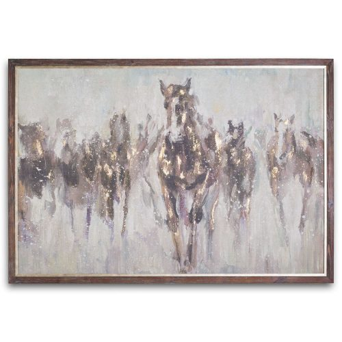 Wild Horses On Cement Board With Frame - Cosy Home Interiors