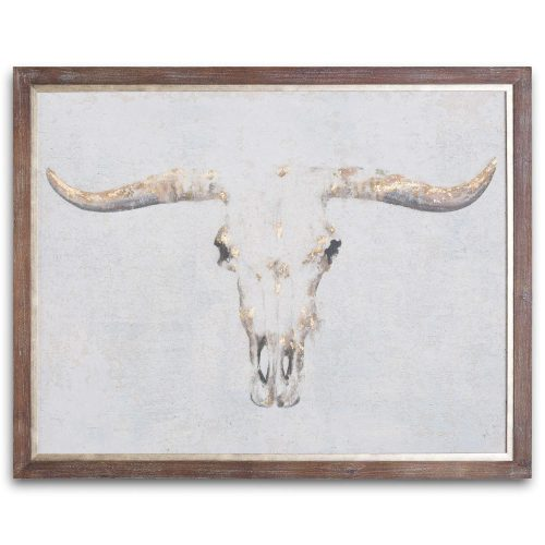 Bull On Cement Board With Frame - Cosy Home Interiors