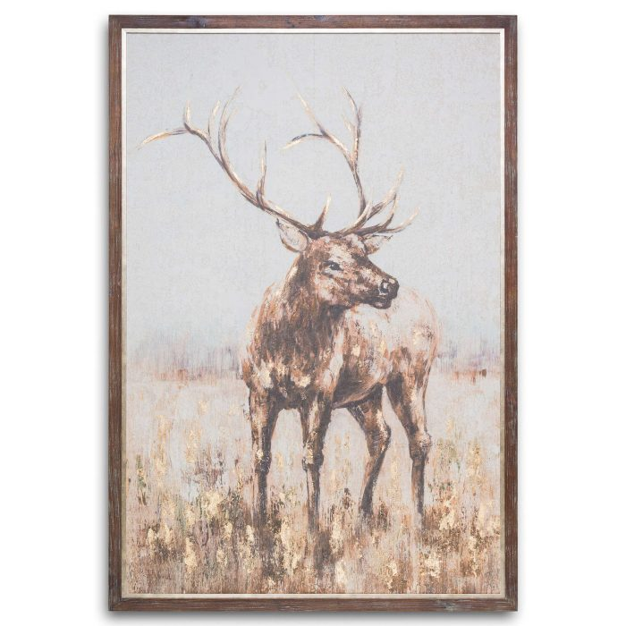 Large Stag On Cement Board With Frame - Cosy Home Interiors