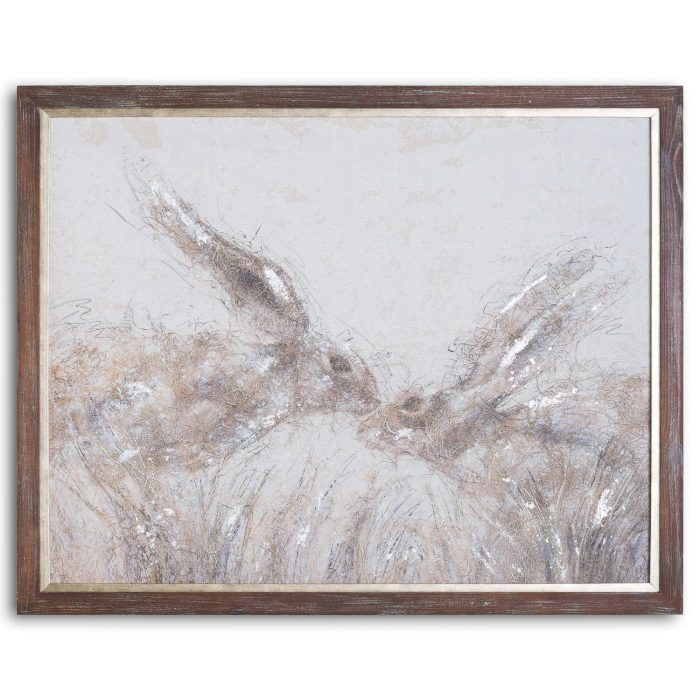 March Hares On Cement Board With Frame - Cosy Home Interiors