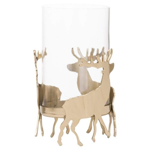 Brass Stag Hurricane Lantern - Cosy Home Interiors