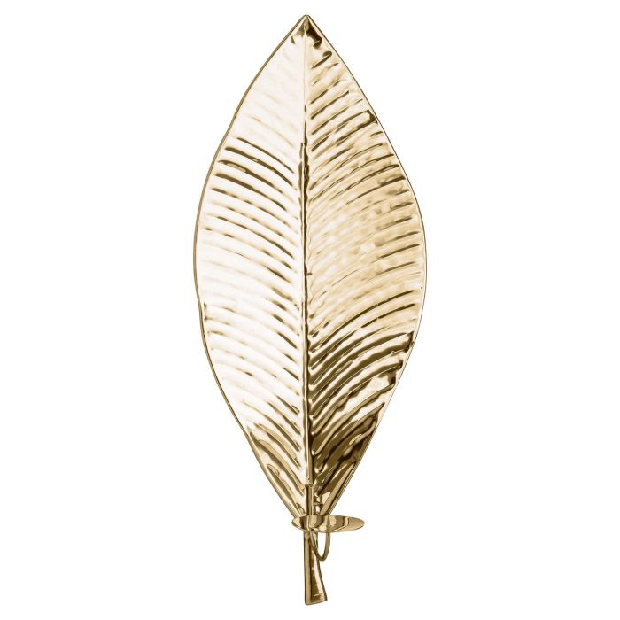 Large Brass Leaf Wall Hanging Candle Holder - Cosy Home Interiors