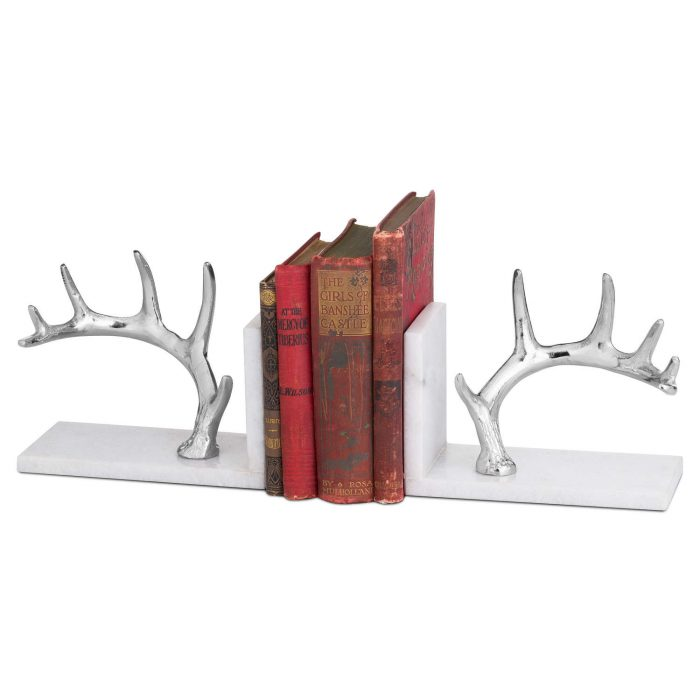 Nickel Antler And Marble Bookend - Cosy Home Interiors
