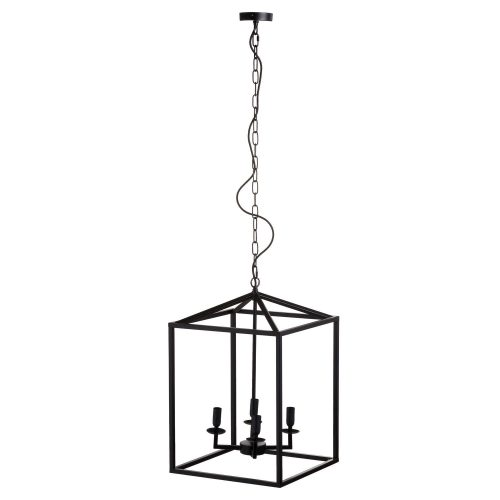 Black Large Coach Lantern Hanging Pendant Light - Cosy Home Interiors