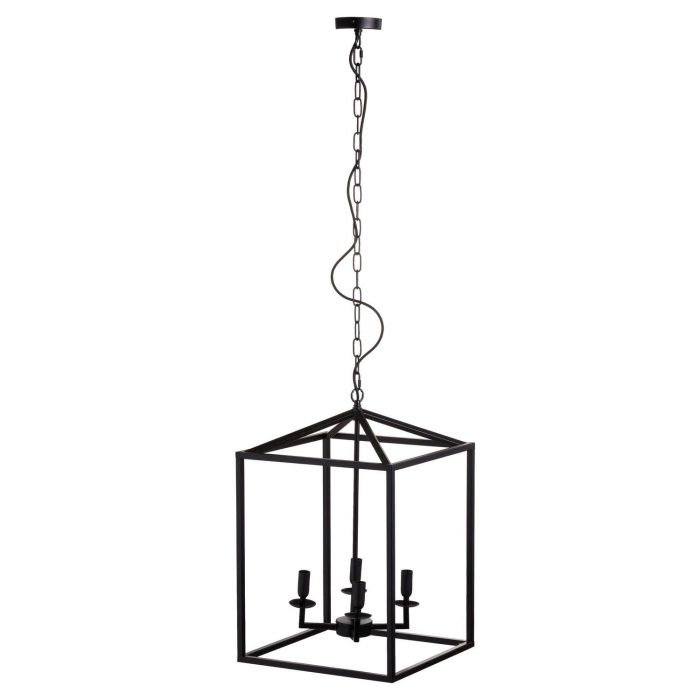 Black Large Coach Lantern Hanging Pendant Light - Cosy Home Interiors