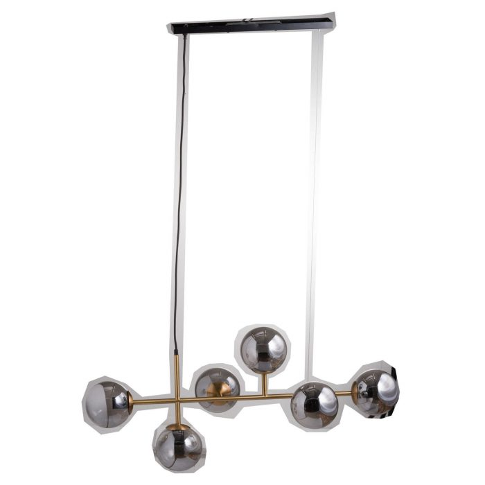 Six Globe Smoked Glass And Brass Detail Hanging Light - Cosy Home Interiors