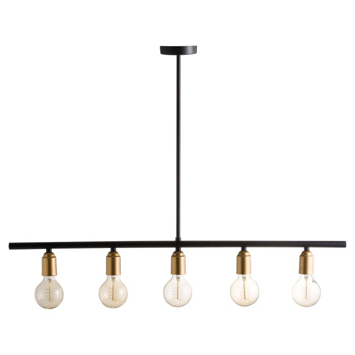 Black And Brass Industrial Five Bulb Bar Light - Cosy Home Interiors
