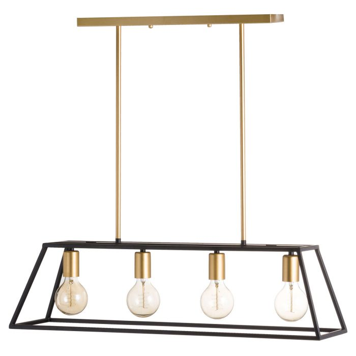 Black And Brass Four Bulb Framed Light - Cosy Home Interiors