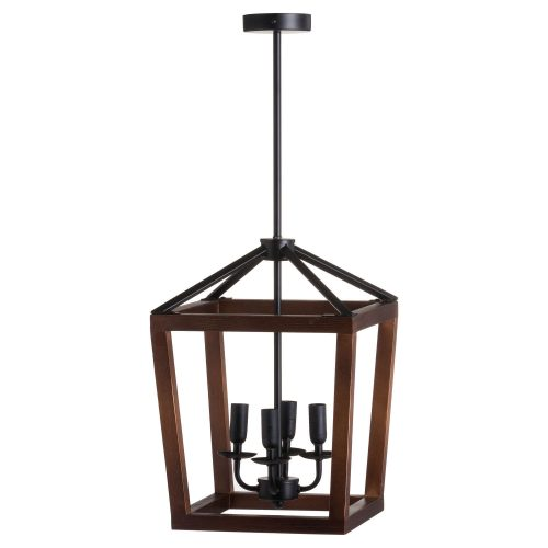 Large Wooden Coach Lantern Hanging Pendant Light - Cosy Home Interiors