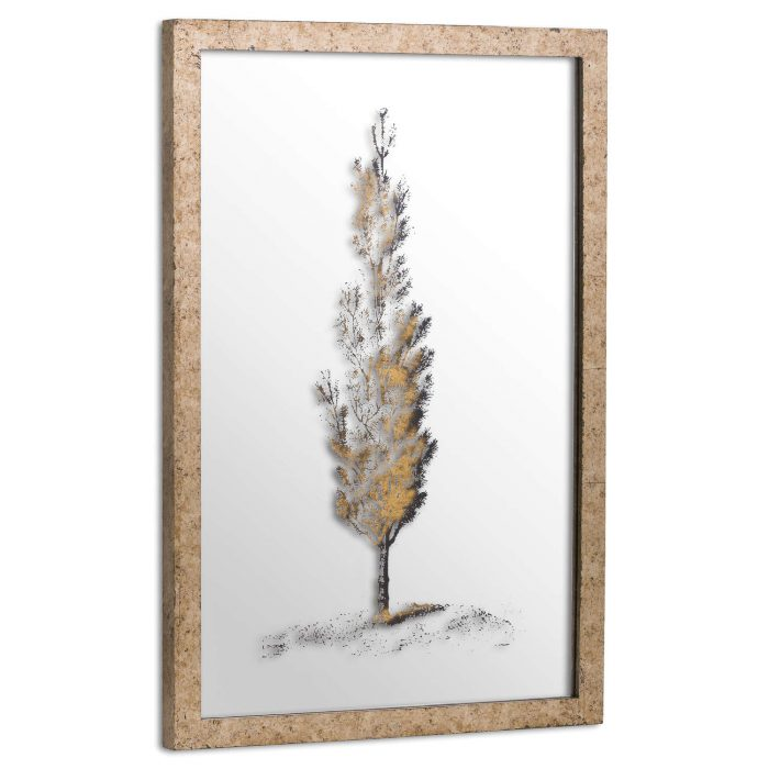 Antique Metallic Brass Mirrored Pine Wall Art - Cosy Home Interiors