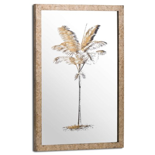 Metallic Mirrored Brass Palm Wall Art - Cosy Home Interiors