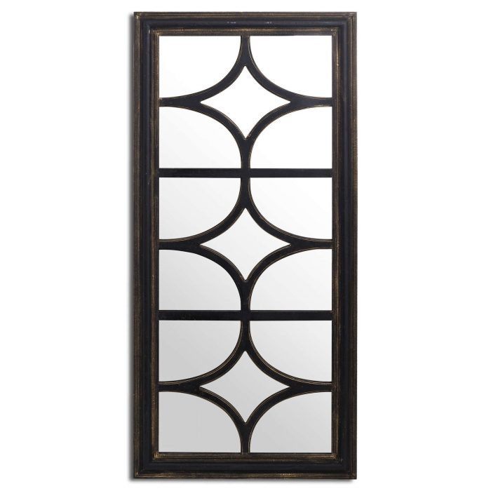 Diamond Effect Large Black Distressed Wall Mirror - Cosy Home Interiors