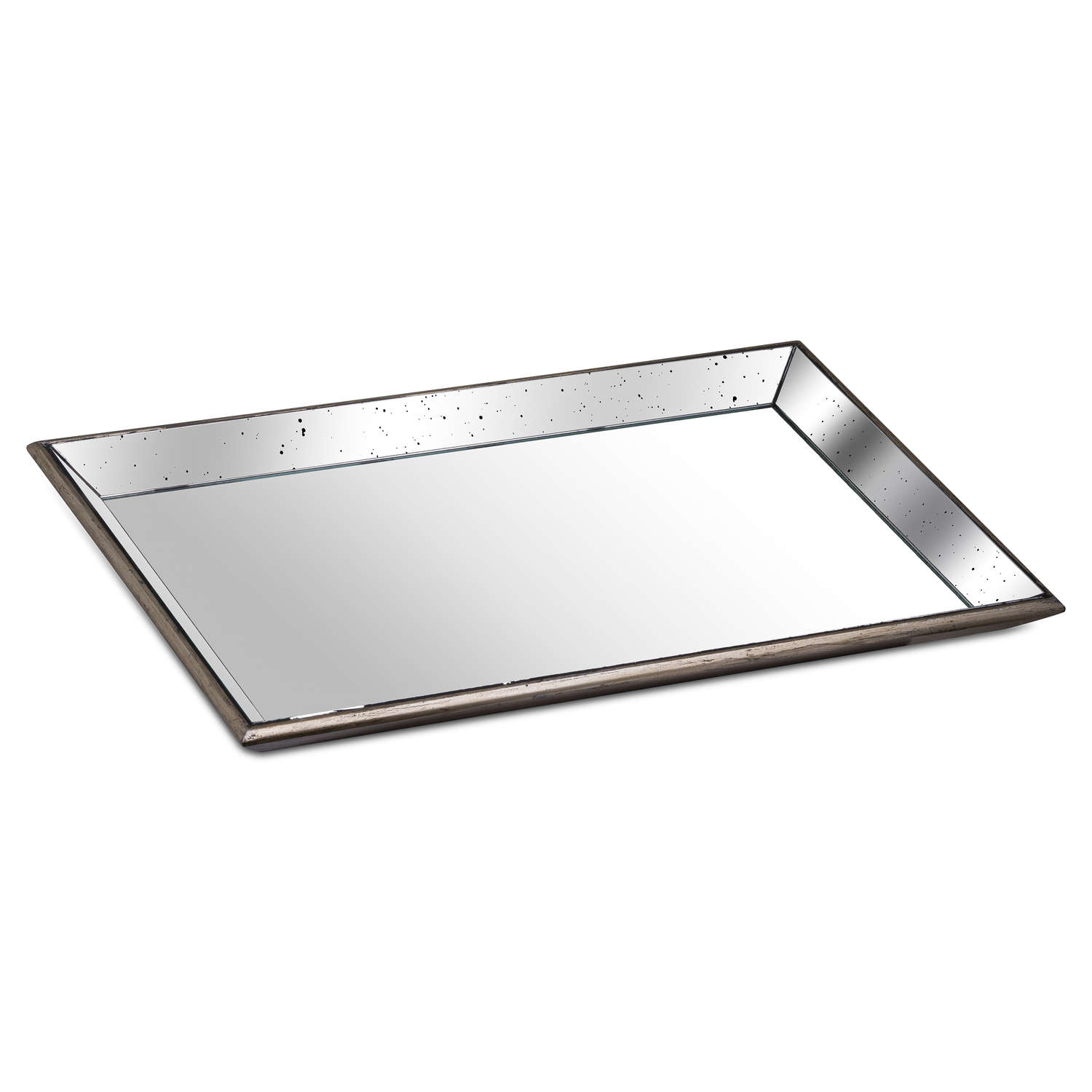 Astor Distressed Large Mirrored Tray With Wooden Detailing - Cosy Home Interiors