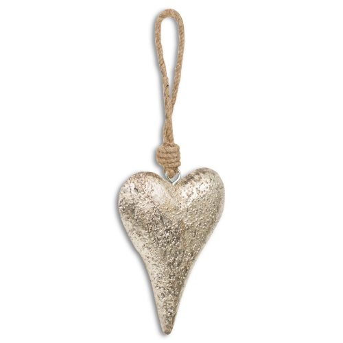Mottled Silver Rope Hanging Heart Decoration - Cosy Home Interiors