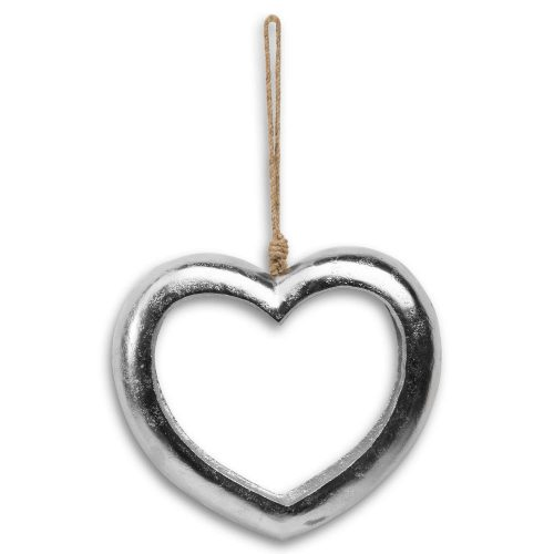 Large Casted Silver Cut Out Heart - Cosy Home Interiors