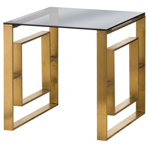 The Edwin Stainless Side Table In Brushed Brass - Cosy Home Interiors