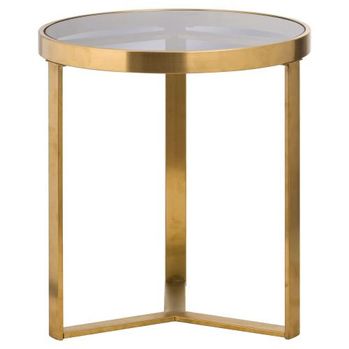 The Edwin Stainles Round Side Table In Brushed Brass - Cosy Home Interiors