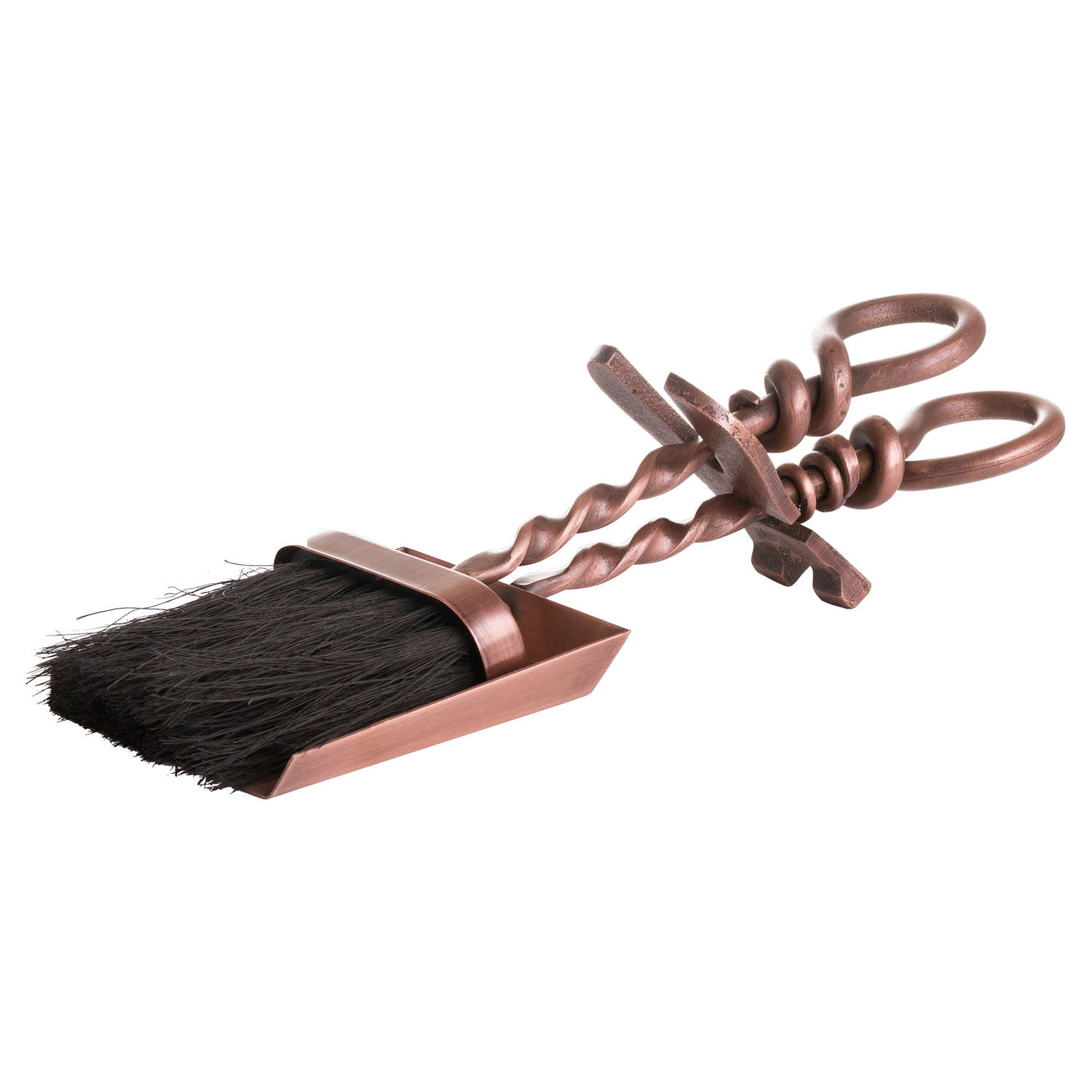 Copper Finish Hearth Tidy Set With Hand Turned Loop Handle - Cosy Home Interiors