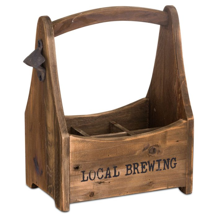 Rustic Six Bottle Holder With Opener - Cosy Home Interiors