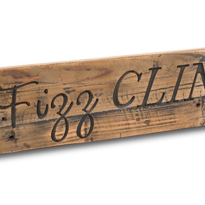 Pop Fizz Clink Drink Rustic Wooden Message Plaque - Cosy Home Interiors