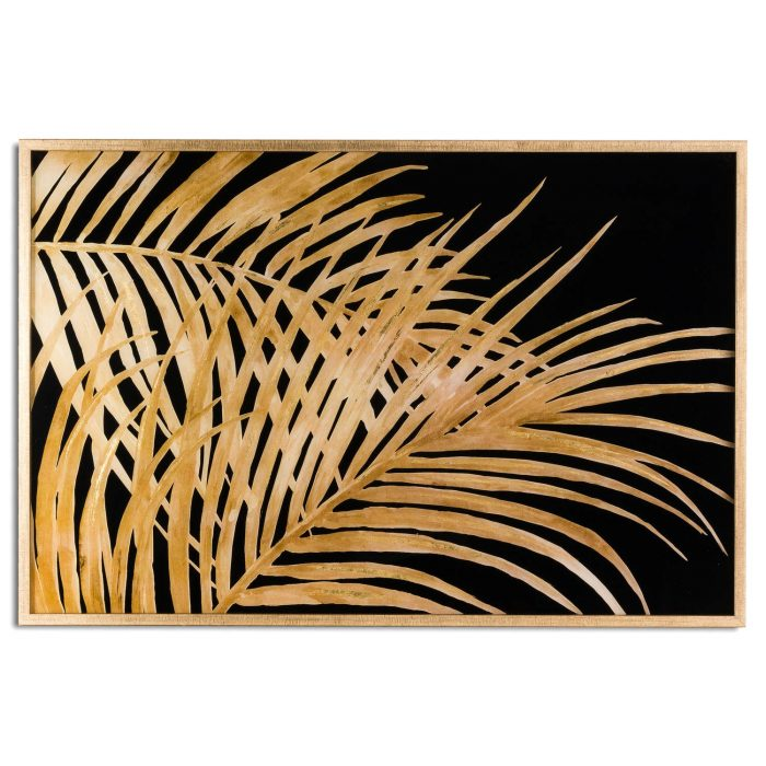 Large Metallic Palm Leaf Glass Image In Gold Frame - Cosy Home Interiors