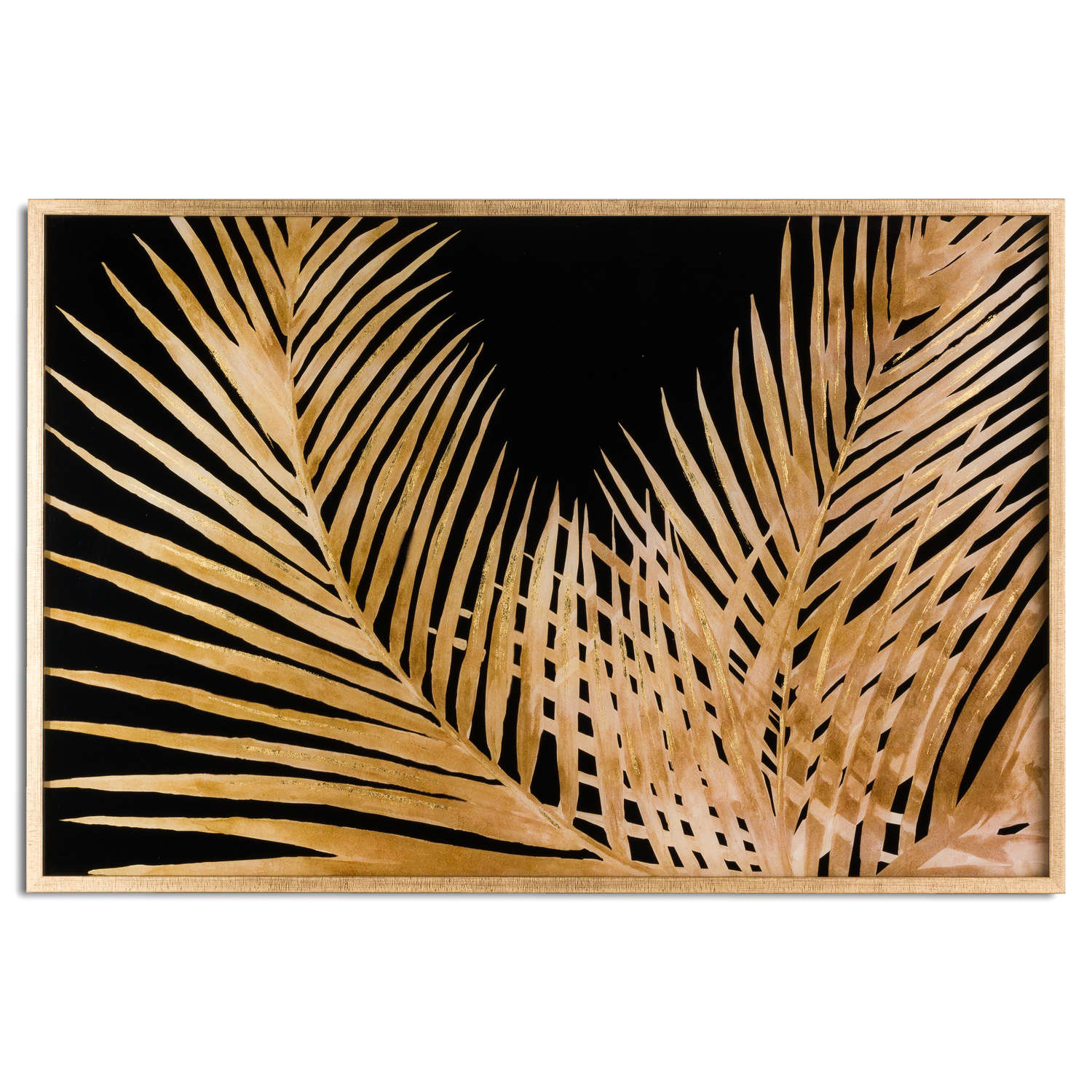 Large Metallic Palm Glass Image In Gold Frame - Cosy Home Interiors