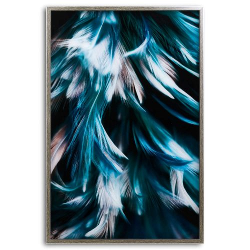 Teal Feather Glass Image In Silver Frame - Cosy Home Interiors