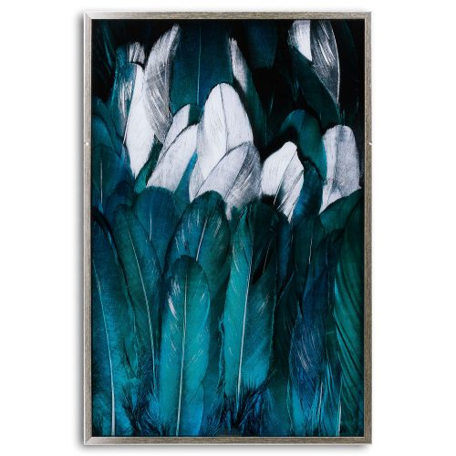 Teal And Silver Feather Glass Image In Silver Frame - Cosy Home Interiors