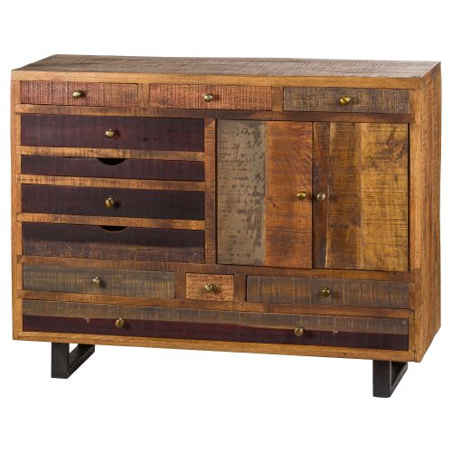 Multi Draw Reclaimed Industrial Chest With Brass Handle - Cosy Home Interiors