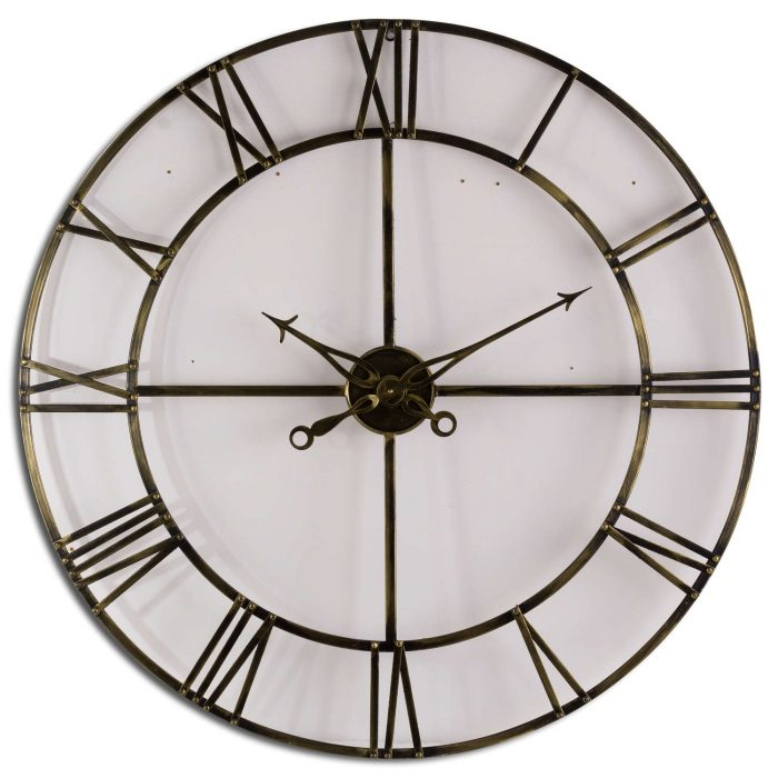 Large Antique Brass Large Skeleton Clock - Cosy Home Interiors