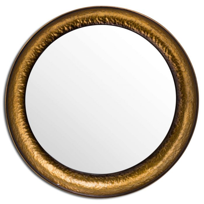 Antique Hammered Brass Deep Dish Set Of Three Mirrors - Cosy Home Interiors