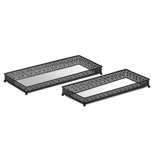 Set Of Two Rectangular Aztec Black Mirrored Trays - Cosy Home Interiors
