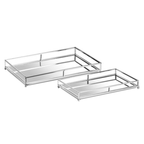 Set Of Two Rectangular Silver Bar Trays - Cosy Home Interiors
