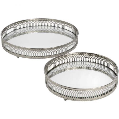 Set Of Two Circular Nickle Trays - Cosy Home Interiors