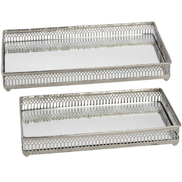 Set of Rectangular Nickel Plated Trays - Cosy Home Interiors
