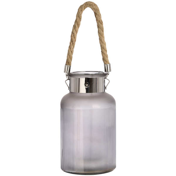Frosted Glass Lantern with Rope Detail and Interior LED - Cosy Home Interiors