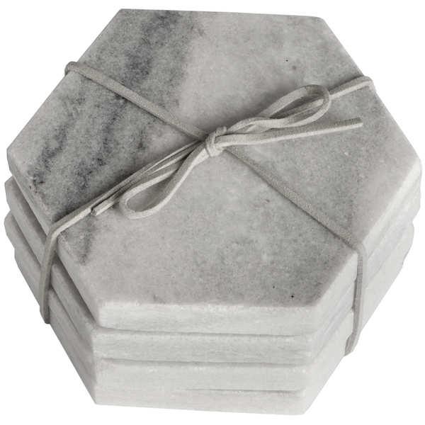 Grey Marble Hexagonal Coasters - Cosy Home Interiors