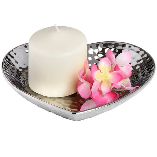Silver Ceramic Dimple Effect Small Heart - Cosy Home Interiors