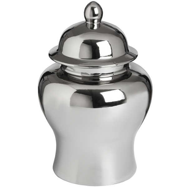 Small Silver Ceramic Urn - Cosy Home Interiors