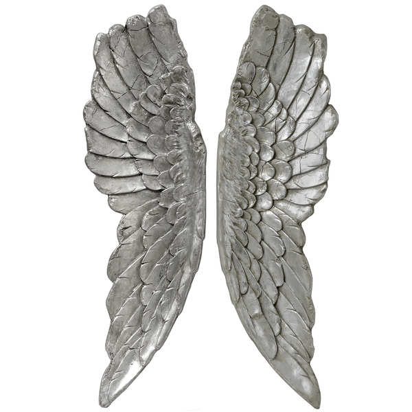 Antique Silver Large Angel Wings - Cosy Home Interiors