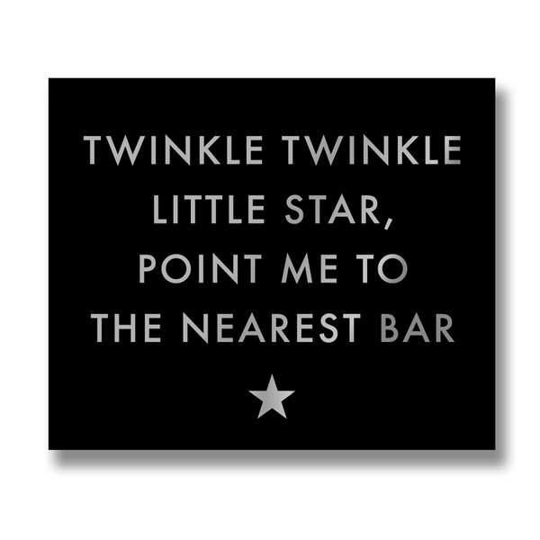 Twinkle Twinkle Silver Foil Plaque - Cosy Home Interiors