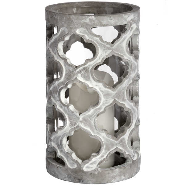 Large Stone Effect Patterned Candle Holder - Cosy Home Interiors